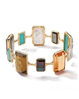 Ippolita 18k Gold Rock Candy Gelato Rectangular Large 10-Stone Bangle, Sailor