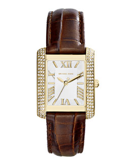 MICHAEL Michael Kors   Mid-Size Leather Emery Three-Hand Glitz Watch