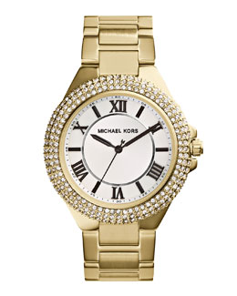 MICHAEL Michael Kors  Slim Golden Stainless Steel Camille Three-Hand Glitz Watch
