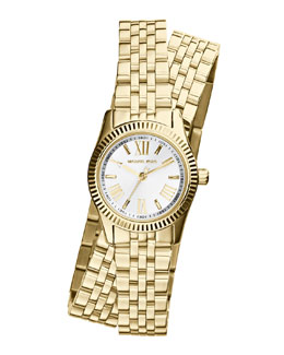 MICHAEL Michael Kors   Petite Golden Stainless Steel Double-Wrap Lexington Three-Hand Watch