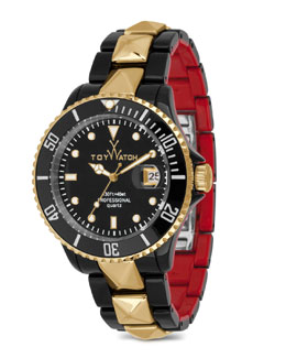 Toy Watch ToyMrHyde Studded Two-Tone Plasteramic Watch, Black/Red