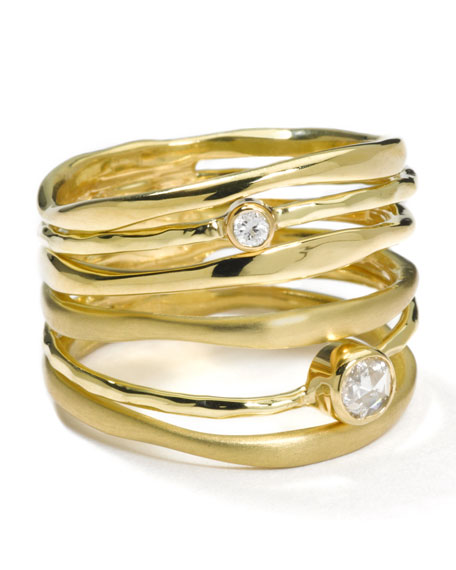 18K Gold Stack Ring with Diamonds (0.23ctw)