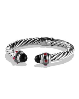 David Yurman Renaissance Bracelet with Black Onyx and Ruby