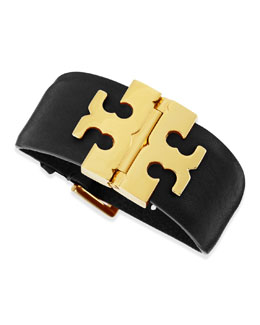Tory Burch Wide T-Hinged Leather Bracelet, Black