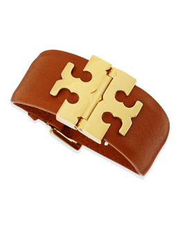 Tory Burch Wide T-Hinged Leather Bracelet, Tan