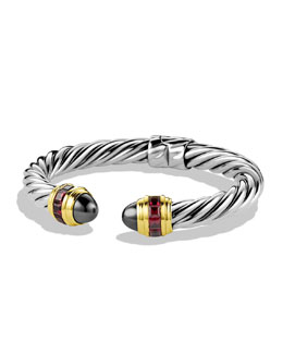 David Yurman Renaissance Bracelet with Hematine, Rhodolite Garnet, and Gold