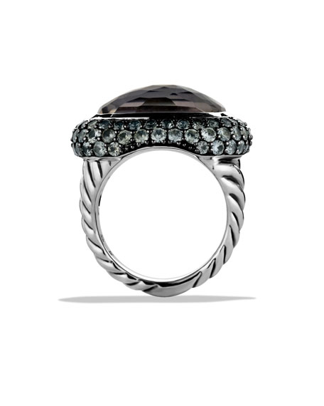 Waverly Ring with Black Orchid and Gray Sapphires
