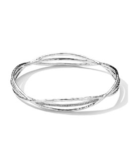 Ippolita Sterling Silver Crisscross Wire Diamond Bangle (0.30ctw)