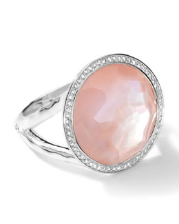 Ippolita Sterling Silver Stella Lollipop Ring in Pink Mother-of-Pearl w/Diamonds (0.23 ctw)