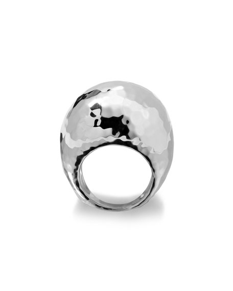Sterling Silver Large Hammered Dome Ring