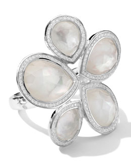 Ippolita Sterling Silver Stella Teardrop Stone Ring in Mother-of-Pearl/Diamonds