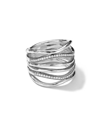 Ippolita Sterling Silver Multi-Band Ring with Diamonds (0.32ctw)