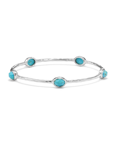 Ippolita Sterling Silver Rock Candy 5-Stone Bangle in Turquoise (Size 1)