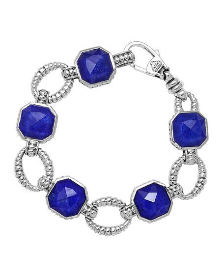 Sterling Silver Lapis Rocks Medium Link Bracelet