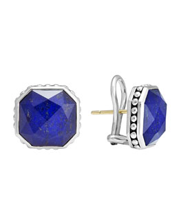 Lagos 14mm Sterling Silver Lapis Rocks Clip-On Earrings