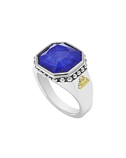 Lagos 14mm Sterling Silver Lapis Rocks Ring