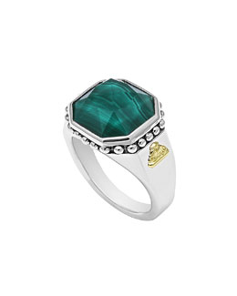 Lagos 14mm Sterling Silver Malachite Rocks Ring