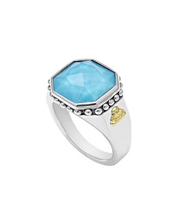 Lagos 14mm Sterling Silver Turquoise Rocks Ring
