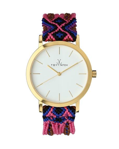 Maya Yellow Golden Watch with Crochet Band, Pink/Multi
