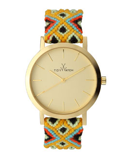 Toy Watch Maya Yellow Golden Watch with Crochet Band, Yellow/Multi