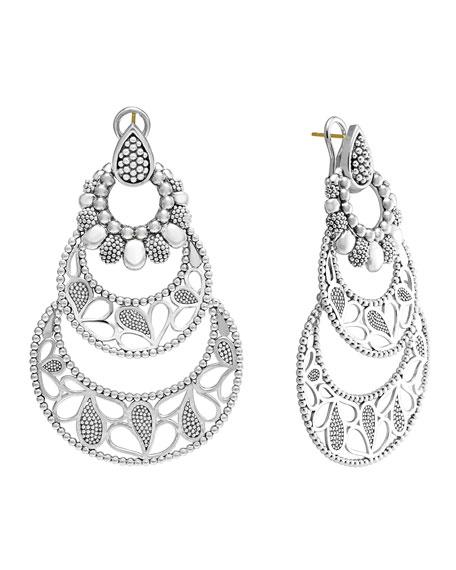 Sterling Silver Voyage Large 3-Hoop Floral Earrings