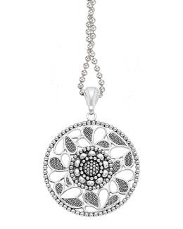 "Lagos Sterling Silver Voyage Caviar Floral Circle Pendant Necklace, 34"""