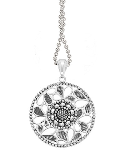 Sterling Silver Voyage Caviar Floral Circle Pendant Necklace, 34""