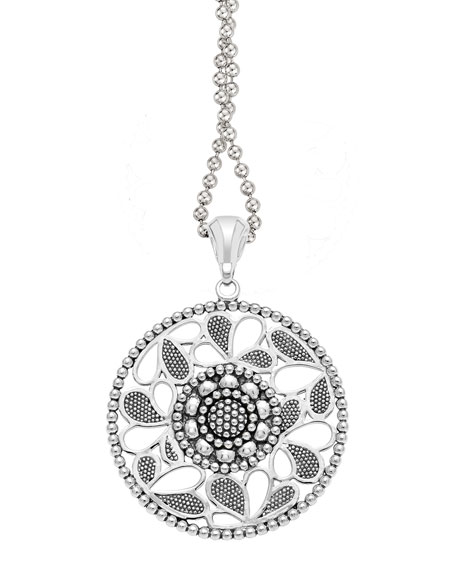 Lagos sterling silver voyage caviar floral circle pendant necklace 34 mozeypictures Images