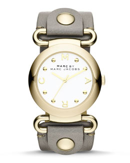 MARC by Marc Jacobs Molly Analog Watch, Yellow Golden/Gray
