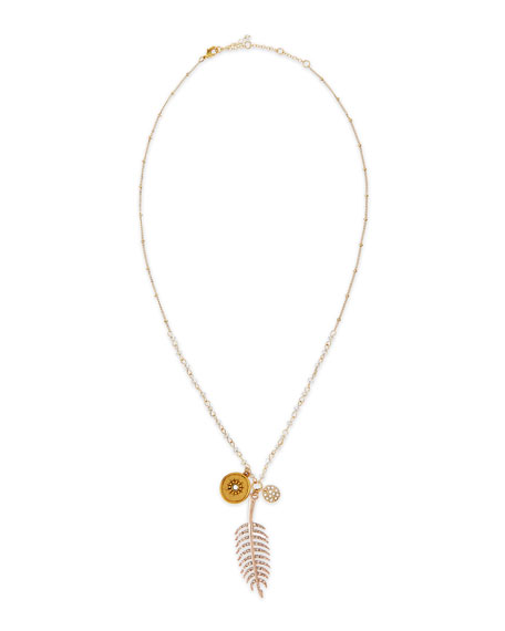 Pave Feather Talisman Necklace with Light Blue Beads