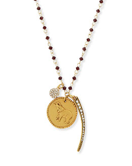 Sequin Elephant, Spike & Disc Charm Necklace with Dark Red Beads
