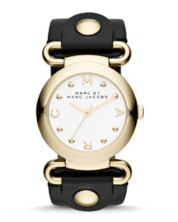 MARC by Marc Jacobs Molly Analog Watch, Yellow Golden/Black