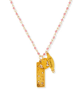 Sequin Have No Fear Charm Necklace with Pink Beads