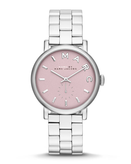 36mm Baker Analog Watch with Bracelet Strap, Stainless Steel/Rose
