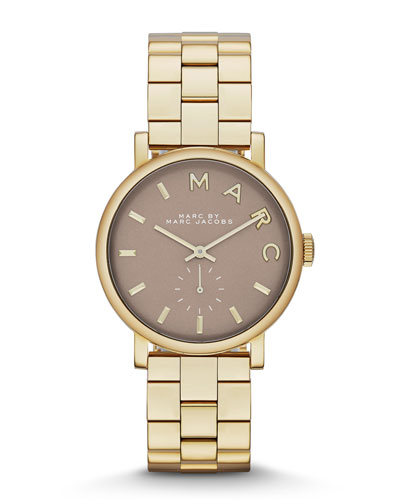 MARC by Marc Jacobs 36mm Baker Analog Watch with Bracelet Strap, Yellow Golden/Gray