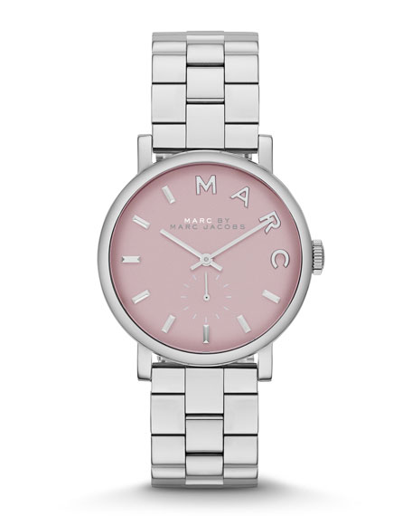 28mm Baker Analog Watch with Bracelet Strap, Stainless Steel/Rose