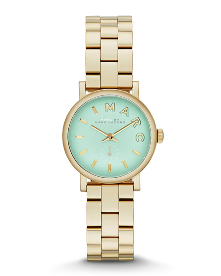 28mm Baker Analog Watch with Bracelet Strap, Yellow Golden/Mint
