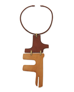 Donna Karan Wide Two-Piece Puzzle Choker Necklace, Luggage/Camel