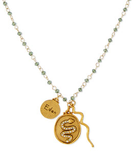 Sequin Eden Snake Charm Necklace with Green Beads