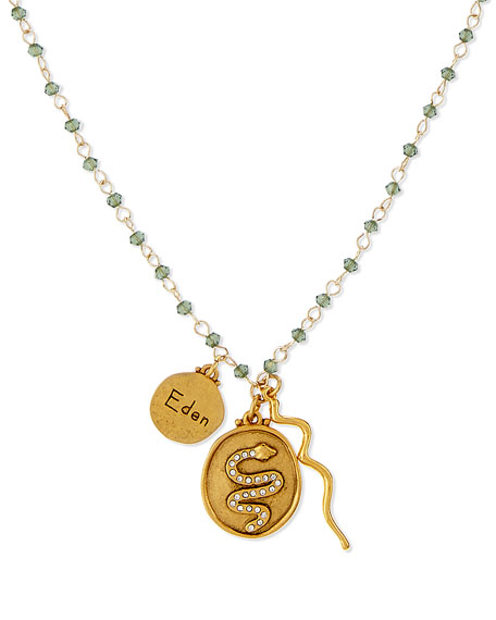 Eden Snake Talisman Necklace with Green Beads