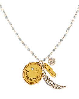 Sequin Goodnight Moon Charm Necklace with Light Blue Beads