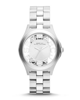 MARC by Marc Jacobs 34mm Henry Skeleton Watch, Stainless/White