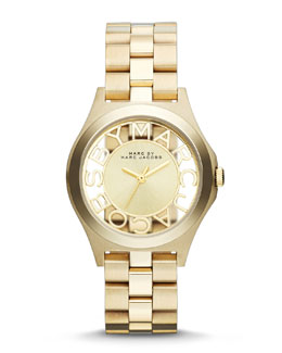 MARC by Marc Jacobs 34mm Henry Skeleton Watch, Yellow Golden