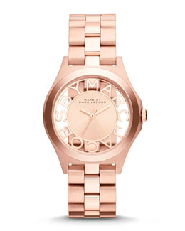 MARC by Marc Jacobs 34mm Henry Skeleton Watch, Rose Golden