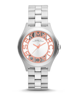 MARC by Marc Jacobs 34mm Henry Skeleton Watch, Stainless/Coral