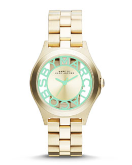 MARC by Marc Jacobs 34mm Henry Skeleton Watch, Yellow Golden/Mint