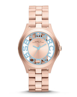 MARC by Marc Jacobs 34mm Henry Skeleton Crystal Watch, Rose Golden/Blue