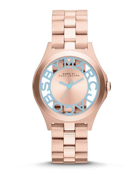 34mm Henry Skeleton Crystal Watch, Rose Golden/Blue