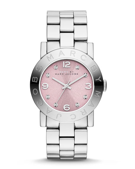 36mm Baker Crystal Analog Watch with Bracelet Strap, Stainless/Rose