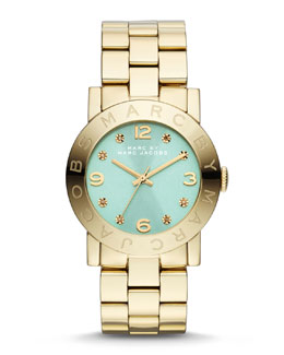 MARC by Marc Jacobs 36mm Baker Crystal Analog Watch with Bracelet Strap, Golden/Mint